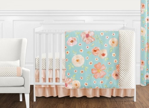 Turquoise and Peach Shabby Chic Watercolor Floral Baby Girl Crib Bedding Set without Bumper by Sweet Jojo Designs - 11 pieces - Pink Rose Flower Polka Dot - Click to enlarge