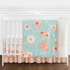 Turquoise and Peach Shabby Chic Watercolor Floral Baby Girl Crib Bedding Set without Bumper by Sweet Jojo Designs - 4 pieces - Pink Rose Flower Polka Dot