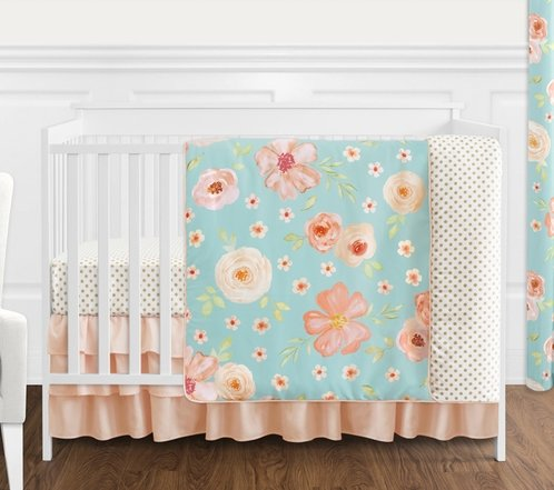 Turquoise and Peach Shabby Chic Watercolor Floral Baby Girl Crib Bedding Set without Bumper by Sweet Jojo Designs - 4 pieces - Pink Rose Flower Polka Dot - Click to enlarge
