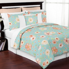 Turquoise and Peach Shabby Chic Watercolor Floral Girl Full / Queen Kid Teen Bedding Comforter Set by Sweet Jojo Designs - 3 pieces - Pink Rose Flower