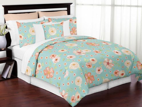 Turquoise and Peach Shabby Chic Watercolor Floral Girl Full / Queen Kid Teen Bedding Comforter Set by Sweet Jojo Designs - 3 pieces - Pink Rose Flower - Click to enlarge