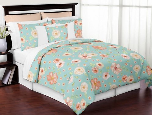 Turquoise And Peach Shabby Chic Watercolor Floral Girl Full / Queen Kid Teen  Bedding Comforter Set