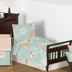 Turquoise and Peach Shabby Chic Watercolor Floral Girl Toddler Kid Childrens Bedding Set by Sweet Jojo Designs - 5 pieces Comforter, Sham and Sheets - Pink Rose Flower Polka Dot