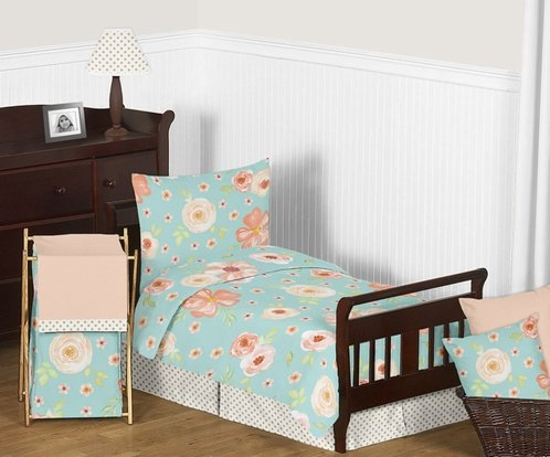 Turquoise and Peach Shabby Chic Watercolor Floral Girl Toddler Kid Childrens Bedding Set by Sweet Jojo Designs - 5 pieces Comforter, Sham and Sheets - Pink Rose Flower Polka Dot - Click to enlarge