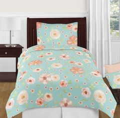 Turquoise and Peach Shabby Chic Watercolor Floral Girl Twin Kid Childrens Bedding Comforter Set by Sweet Jojo Designs - 4 pieces - Pink Rose Flower
