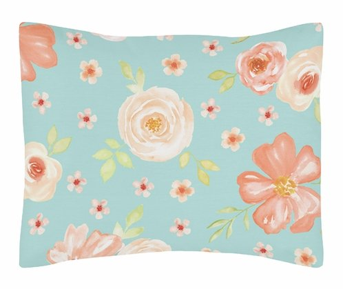 Turquoise and Peach Standard Pillow Sham for Watercolor Floral Collection by Sweet Jojo Designs - Pink Rose Flower - Click to enlarge