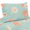 Turquoise and Peach Twin Sheet Set for Watercolor Floral Collection by Sweet Jojo Designs - 3 piece set - Pink Rose Flower