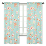 Turquoise and Peach Window Treatment Panels Curtains for Watercolor Floral Collection by Sweet Jojo Designs - Set of 2 - Pink Rose Flower
