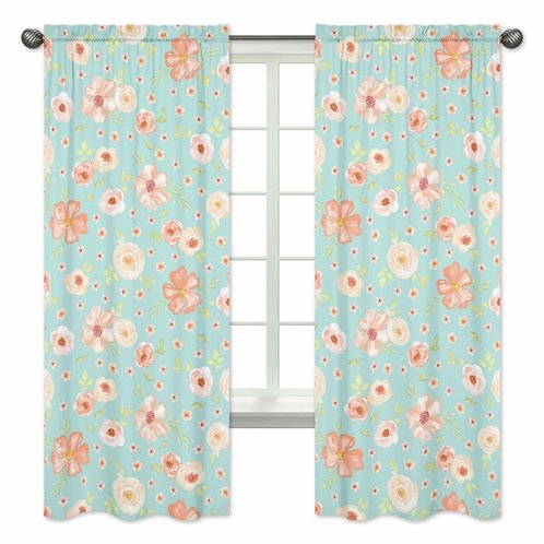Turquoise and Peach Window Treatment Panels Curtains for Watercolor Floral Collection by Sweet Jojo Designs - Set of 2 - Pink Rose Flower - Click to enlarge