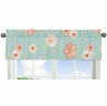 Turquoise and Peach Window Treatment Valance for Watercolor Floral Collection by Sweet Jojo Designs - Pink Rose Flower