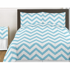 Turquoise and White Chevron 3pc Bed in a Bag Zig Zag King Bedding Set Collection