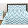 Turquoise and White Chevron 3pc Childrens and Teen Zig Zag Full / Queen Bedding Set Collection