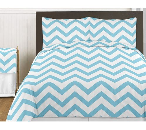 Turquoise and White Chevron 4pc Childrens and Kids Zig Zag Twin Bedding Set Collection - Click to enlarge
