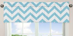 Turquoise and White Chevron Collection Zig Zag Window Valance