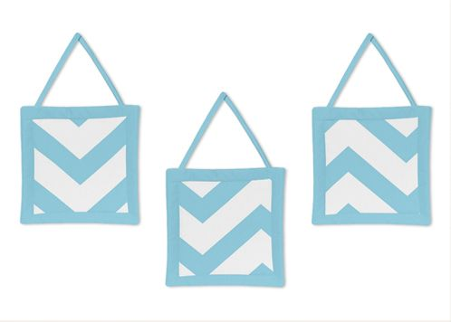 Turquoise and White Chevron Wall Hanging Accessories by Sweet Jojo Designs - Click to enlarge
