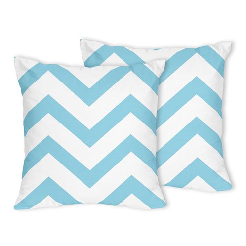Turquoise and White Chevron Zig Zag Decorative Accent Throw Pillows - Set of 2 - Click to enlarge