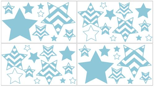 Turquoise and White Chevron Zig Zag Peel and Stick Wall Decal Stickers Art Nursery Decor by Sweet Jojo Designs - Set of 4 Sheets - Click to enlarge