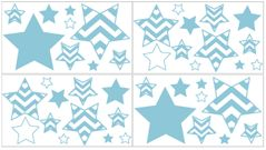 Turquoise and White Chevron Zig Zag Peel and Stick Wall Decal Stickers Art Nursery Decor by Sweet Jojo Designs - Set of 4 Sheets