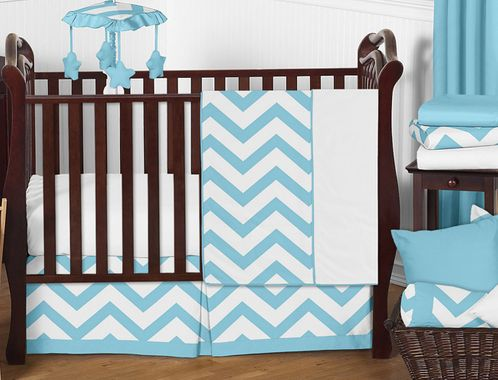 Turquoise and White Chevron ZigZag Baby Bedding - 11pc Crib Set by Sweet Jojo Designs - Click to enlarge