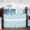 Turquoise and White Chevron ZigZag Baby Bedding - 9pc Crib Set by Sweet Jojo Designs