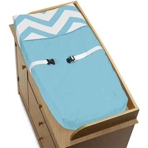 Turquoise and White Zig Zag Chevron Baby Changing Pad Cover by Sweet Jojo Designs - Click to enlarge