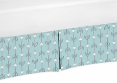 Turquoise Arrow Print Crib Bed Skirt for Earth and Sky Baby Bedding Sets by Sweet Jojo Designs
