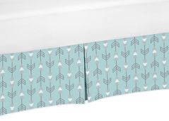 Turquoise Arrow Print Crib Bed Skirt for Earth and SkyBaby Bedding Sets by Sweet Jojo Designs
