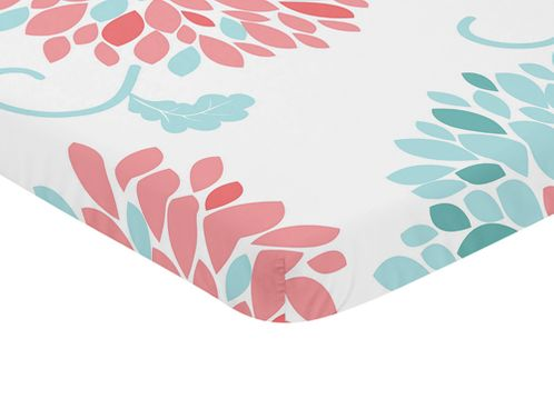 Turquoise Blue and Coral Floral Baby Fitted Mini Portable Crib Sheet for Emma Collection by Sweet Jojo Designs - Click to enlarge