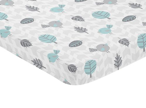 Turquoise Blue, Gray and White Bird Baby Fitted Mini Portable Crib Sheet for Earth and Sky Collection by Sweet Jojo Designs - Click to enlarge