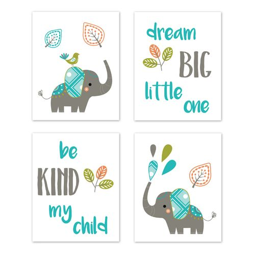 Turquoise Blue Green And Gray Wall Art Prints Room Decor For Baby Nursery Kids Mod Elephant Collection By Sweet Jojo Designs Set Of 4
