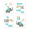 Turquoise Blue, Green, and Gray Wall Art Prints Room Decor for Baby, Nursery, and Kids for Mod Elephant Collection by Sweet Jojo Designs - Set of 4 - Dream Big Be Kind