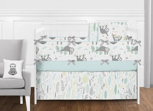 Turquoise Blue, Grey and Mint Green Woodland Jungle Sloth Unisex Baby Girl or Boy Nursery Crib Bedding Set with Bumper by Sweet Jojo Designs - 9 pieces - Tropical Rainforest Animal - Click to enlarge