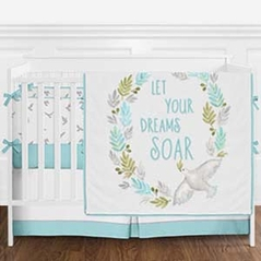 Turquoise Blue, Grey and White Dove Watercolor Bird Baby Girl or Boy Crib Bedding Set with Bumper by Sweet Jojo Designs - 9 pieces