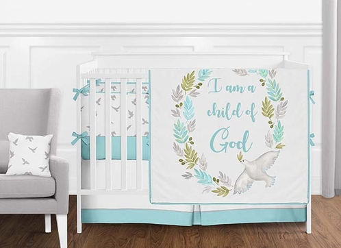Turquoise Blue, Grey and White Religious Dove Watercolor Bird Baby Girl or Boy Crib Bedding Set with Bumper by Sweet Jojo Designs - 9 pieces - Click to enlarge