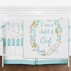 Turquoise Blue, Grey and White Religious Dove Watercolor Bird Baby Girl or Boy Crib Bedding Set with Bumper by Sweet Jojo Designs - 9 pieces
