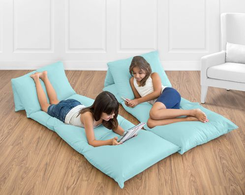 Turquoise Blue Kids Teen Floor Pillow Case Lounger Cushion Cover by Sweet Jojo Designs - Click to enlarge