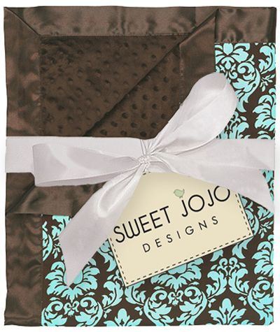 Turquoise & Brown Damask Print Minky Dot Chenille and Satin Baby Blanket by Sweet Jojo Designs - Click to enlarge