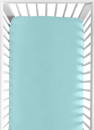 Turquoise Fitted Crib Sheet for Feather Collection Baby/Toddler Bedding by Sweet Jojo Designs - Click to enlarge