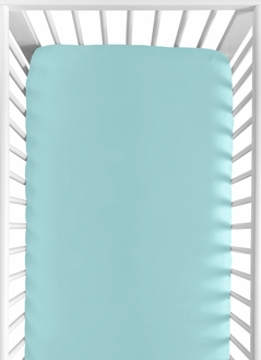 Turquoise Fitted Crib Sheet for Feather Collection Baby/Toddler Bedding by Sweet Jojo Designs