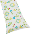 Turquoise Floral Full Length Double Zippered Body Pillow Case Cover for Sweet Jojo Designs Layla Sets