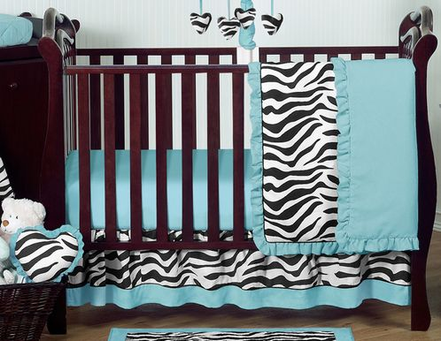 Turquoise Funky Zebra Baby Bedding - 11pc Crib Set - Click to enlarge
