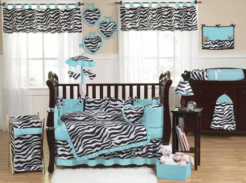 Turquoise Funky Zebra Baby Bedding - 9 pc Crib Set - Click to enlarge