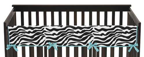 Turquoise Funky Zebra Baby Crib Long Rail Guard Cover by Sweet Jojo Designs - Click to enlarge