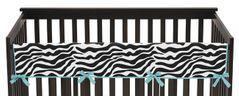 Turquoise Funky Zebra Baby Crib Long Rail Guard Cover by Sweet Jojo Designs