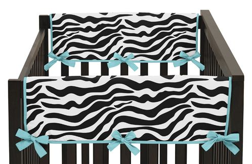 Turquoise Funky Zebra Baby Crib Side Rail Guard Covers by Sweet Jojo Designs - Set of 2 - Click to enlarge