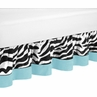 Turquoise Funky Zebra Bed Skirt for Toddler Bedding Sets