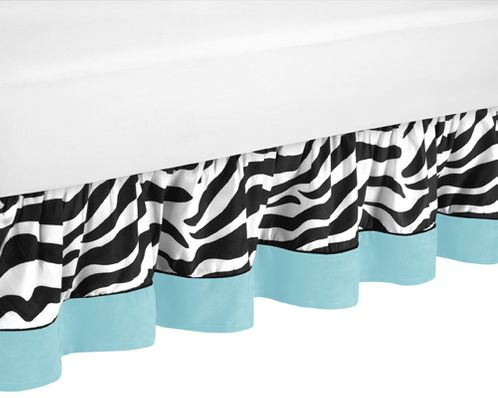 Turquoise Funky Zebra Bed Skirt for Toddler Bedding Sets - Click to enlarge