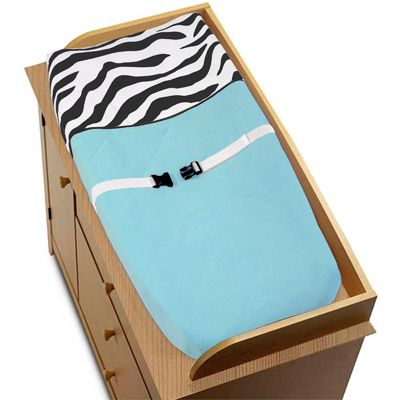 Turquoise Funky Zebra Changing Pad Cover by Sweet Jojo Designs - Click to enlarge