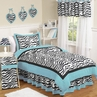 Turquoise Funky Zebra Childrens Bedding - 4 pc Twin Set