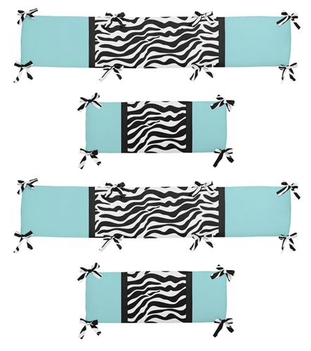 Turquoise Funky Zebra Collection Crib Bumper by Sweet Jojo Designs - Click to enlarge
